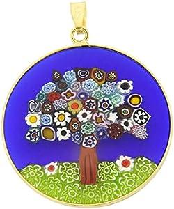 """GlassOfVenice Millefiori - Colgante de cristal de Murano, diseño de árbol de la vida, en marco chapado en oro de 1-1/4"""""""