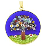 GlassOfVenice Millefiori - Colgante de cristal de Murano, diseño de árbol de la vida, en marco chapado en oro de 1-1/4'