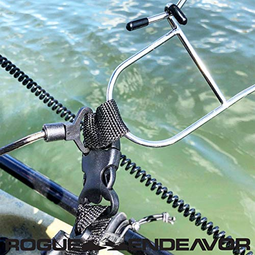 """Rogue Endeavor Fish Stringer Clip, Large, Stainless Steel Construction, Quick Release 36"""" Steel Core Lanyard, Designed for Spearfishing, Kayak Fishing & Scuba Diving and All Fish Types"""