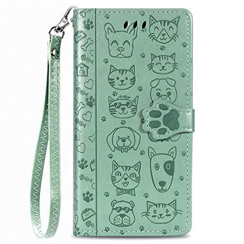Unichthy Schutzhülle für Samsung Galaxy S30 Plus, mit Katzen- und Hundemotiv, PU-Leder, Magnetverschluss, Standfunktion, Kartenhalter mit Handschlaufe, Grün