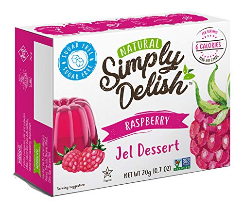 Simply delish Natural, Sugar free Raspberry Jel Dessert,  0.7 ounce, pack of 6