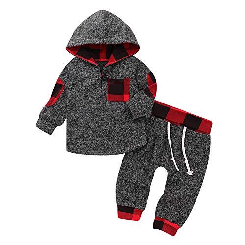 Shiningbaby Baby-Elefant-Trainingsanzug-Jungen-Mädchen-mit Kapuze Kleidung stellte Mode-Ausstattung EIN (6-12 Monate, Grau 1)