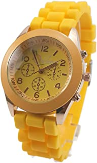 Unisex Opulence Silicone Jelly Gel Quartz Analog Sports Wrist Watch, Yellow