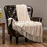 Chanasya Chenille Velvety Texture Decorative Throw Blanket with Tassels Super Soft Cozy Classy Elegant with Subtle Shimmer for Chair Couch Bed Living Bed Room Ivory Throw Blanket (50x65 Inches) Cream