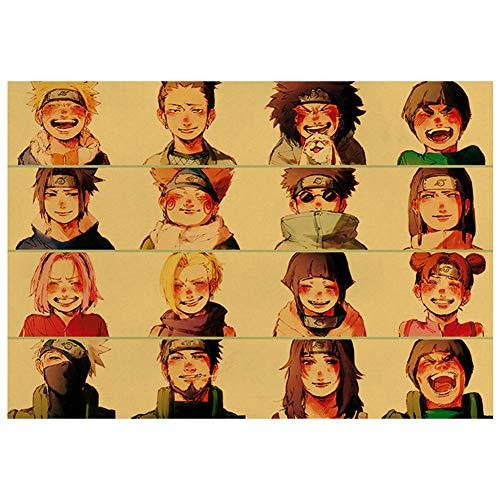 Sweet&rro17 Anime Poster Naruto Shippuden Konoha Retro Kraftpapier Wanddekoration Wandbild Kleinformat Plakat, Zimmer Deko Wand