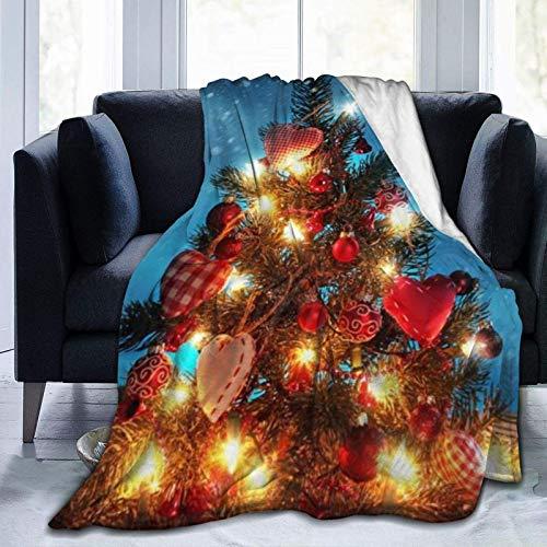 YANGLAN - Manta de microfibra para el árbol de Navidad bajo la nieve y la noche, ultra suave, microforro polar, para sofá de microfibra ligera, 60 x 50 pulgadas