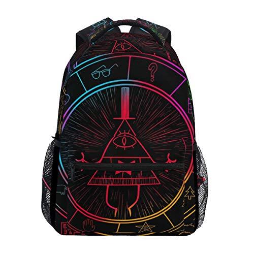 Boy School Book Bag,Kids/Adult Laptop Backpack,College Backbag,Unisex Multifunction Rucksack,Girl Casual Daypack,Men/Women Travel Knapsack,Bill Cipher Wheel Zodiac