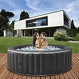 Miweba MSpa aufblasbarer Whirlpool 2021 Comfort Bergen C-BE061 - für 6 Personen - 138 Luftdüsen - 204.0 x 204.0 x 70.0 cm - Pool aufblasbar (Anthrazit)