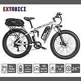 Extrbici XF800 Bici Elettrica Mountain Bike 750W 48V 13Ah 624Wh BatteriaBici Elettrica 26 Pollici Batteria a 7 Marce Freno Idraulico con Porta di Ricarica USB