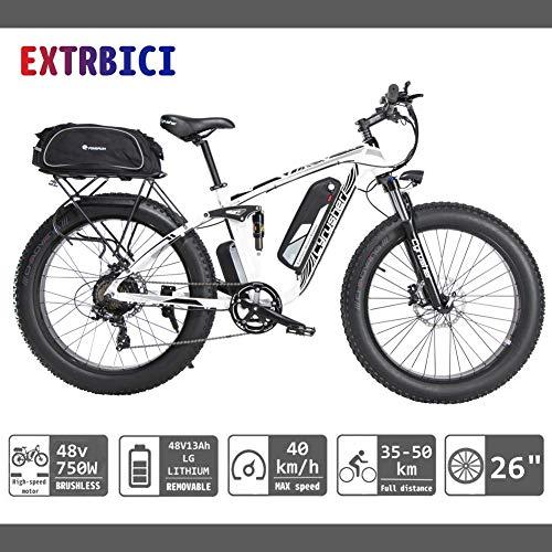 Etrbici XF800 E-Bike Mountainbike,750W/1500W 48V 13Ah 624Wh Akku Elektrofahrrad 26 Zoll Shimano 7 Gang-Schaltung Hydraulische Bremsen Akku mit USB-Ladeanschluss