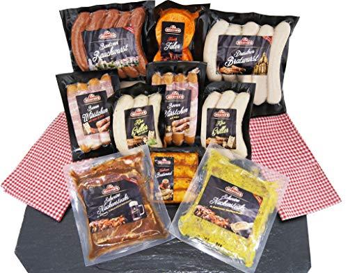 Barbecue Party Grillpaket mit Bratwürsten, Grillfleisch Steak mariniert, Käsegriller, Rauchwurst - 10x Grillspezialitäten im Grillset