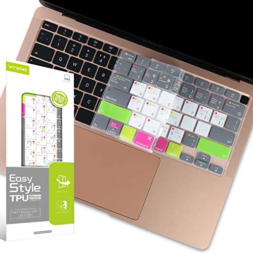 VFENG Premium Keyboard Cover Protector with MAC OS Shortcut Hot Keys for 2020+ MacBook Air 13 Inch 13' with Magic Keyboard (Model: A2179), MacBook Air 13 inch Accessories, US Version