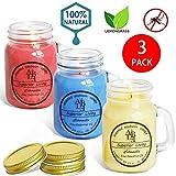 YIIA Citronella Candle (Set of 3) Indoor/Outdoor - 25 Hour Burn - Mason Jar