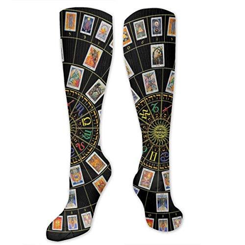 N/A NA Calcetines Casuales para Hombre y Mujer, de Tubo Alto, Mediados de Pantorrilla, Calcetines para Disfraz de Cosplay, Calcetines de Novedad para nias, diseo de Tarot de astrologa