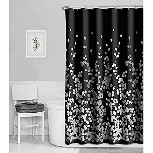 "MAYTEX Sylvia Fabric Shower Curtain, 70"" x 72"", Black White"