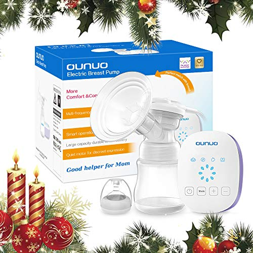 Elektrische Milchpumpe OUNUO Automatische Brustpumpe Muttermilch Abpumpen Stillpumpe mit Massage Speicherfunktion 8 Saugstufe LCD Touchscreen BPA Frei inkl. Schnuller (Einseitig)
