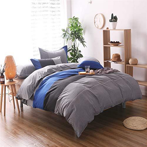 Yinghesheng Textured Stripe Duvet Cover Easy Care and Super Soft Cotton Design Microfiber Breathable Trendy Striped Pattern Bedding Set,Blue,200 * 200cm
