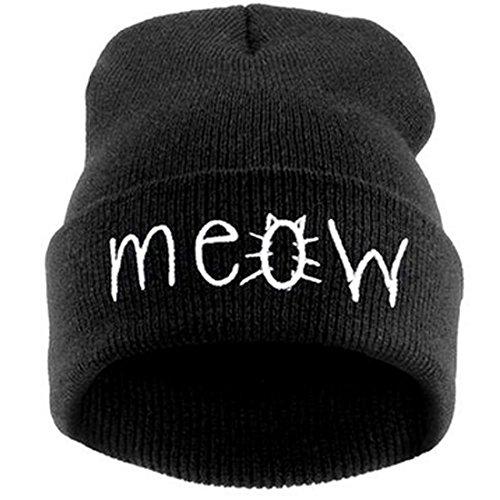 Belsen Damen Katze Hiphop Beanie Strick Mütze Skull Cap (schwarz)