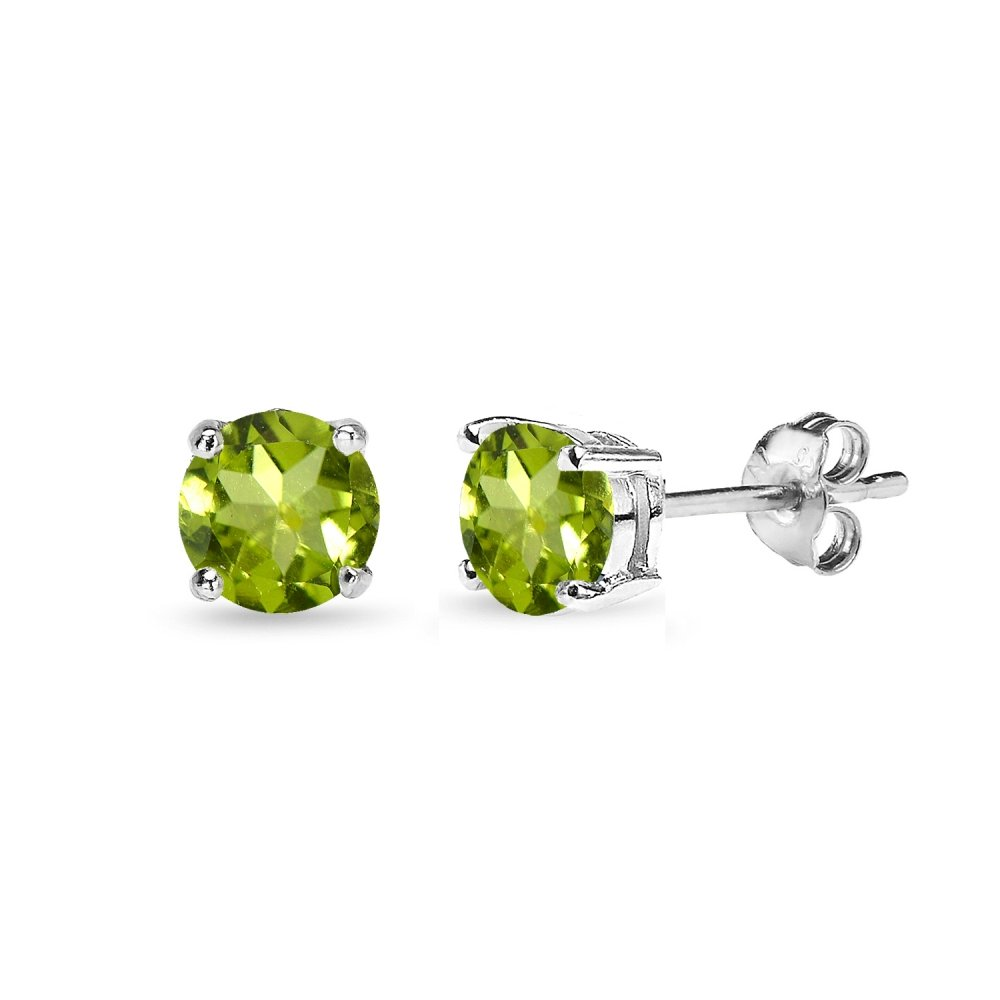 Sterling Silver Peridot Round-Cut Solitaire Stud Earrings, All Sizes