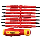 AGPtEK Insulated Electrical Screwdriver Phillips and Flat Double Head Precision 7pcs Set Black Finish Blades With Magnetic Tips Home Outdoor Repair Tool Kit