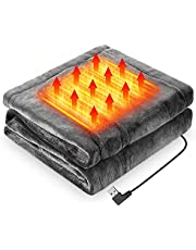 電気毛布 LIUDU ひざ掛け毛布 電気ブランケット USBブランケット160cmx85cm フランネル素材 暖かい 3段階温度調整 肩掛け 膝掛け テント泊用 おしゃれ電気毛布 洗濯可 丸洗い 防寒対策 暖房器具