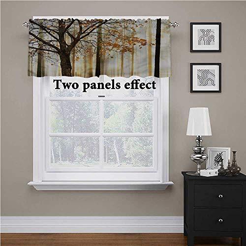Cortina de ventana con diseño de árbol en madera abstracta impresa, para ventana, con calor y frío, muy bien, 150 x 45 cm