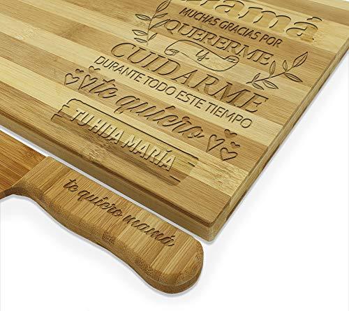 Set de Tabla de cortar cocina y Cuchillo PERSONALIZADA con el Nombre Que tú Quieras, Hecho de bambú 100% Natural juego de cocina regalos personalizados Día de la Madre y Padre navidad parejas