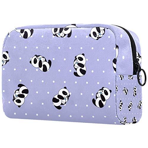 Personalisierte Make-up Pinsel Tasche Tragbare Kulturbeutel für Frauen Handtasche Kosmetik Reiseveranstalter Kawaii Netter Panda Mit Weißen Punkten Lila
