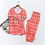 XFLOWR Summer Ladies Cute Cartoon Animal Printed Pyjama Set Comfort Soft Cotton 2pcs Ropa de Dormir Loose Women Casual Wear Homewear Set S Orange