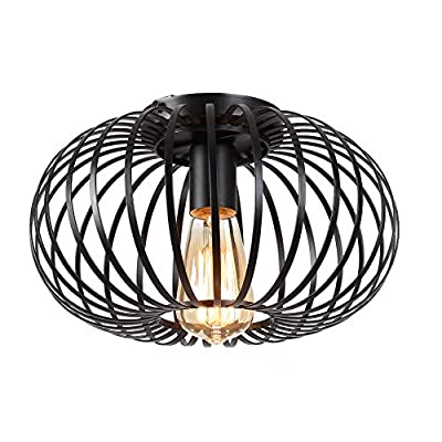 Riomasee Industrial Semi-Flush Mount Ceiling Light,Black Metal Cage Pendant Ceiling Light Fixture for Kitchen,Bedroom,Hallway,Stairway,Entryway,Dining Room,Farmhouse Lighting