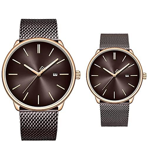 SIMEISM Amor 2 unidsmen reloj de la marca de acero inoxidable cuarzo mujeres relojes impermeable fecha par reloj de pulsera | amante relojes