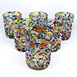Mexican Blown Glass Tumblers Confetti Rocks (Set of 6)