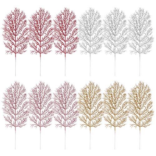 Cabilock 12 peças enfeite de folhas de árvore de Natal com glitter folha spray decoração de Natal vaso de árvore de enchimento guirlanda decoração de casamento DIY Craft ouro rosa prata vermelho