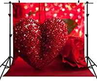 HDバレンタインデーの愛の背景6x6ftレッドローズシャイニードット写真の背景YouTubeフォトスタジオプロップキッズ壁画LYST955
