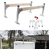 Riwful Adjustable Aluminum Roof Ladder Rack Bracket Kit Fit for Enclosed Trailers Cargo Vans