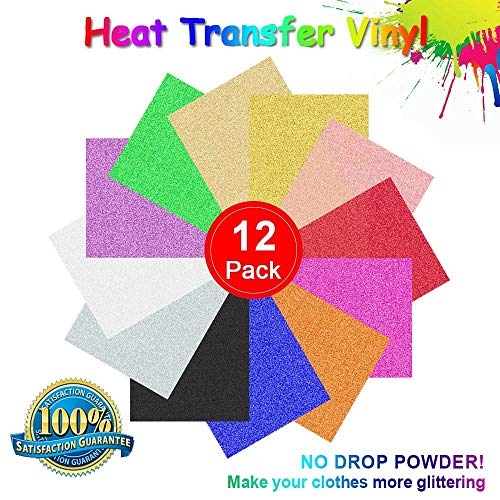 RCruning-EU Heat Transfer Vinyl Fogli Termoadesivi per Tessuti - 12 Pack of 12 x 10' Sheets Adhesive Vinyl Iron-On Transfer