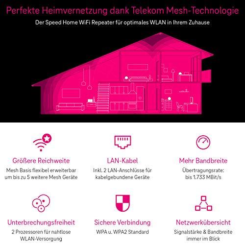 Telekom Speed Home WiFi Solo, WLAN Repeater für Heimnetzwerke, bis zu 1.300 MBit/s 5 GHz + 450MBit/s 2,4 GHz, Telekom 40798484