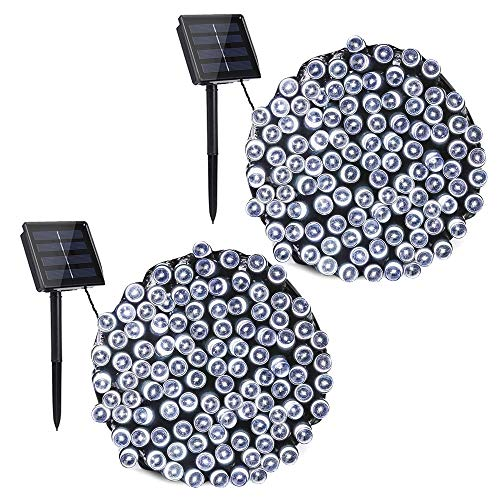 Toodour Solar String Lights, 2 Packs 72ft 200 LED 8 Modes Outdoor String Lights, Waterproof Solar Fairy Lights for Garden, Patio, Fence, Holiday, Party, Balcony Decorations (White)