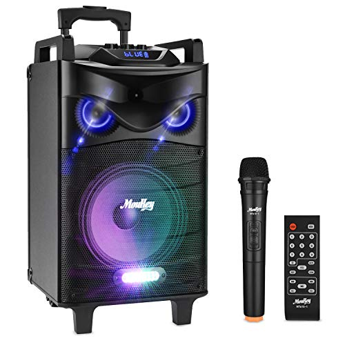 "Moukey Karaoke Machine,520 Watt Peak Power Bluetooth Outdoor Portable Karaoke Speaker System-PA Stereo with 10"" Subwoofer, DJ Lights,Rechargeable Battery, VHF Microphone, Recording, MP3/USB/SD"