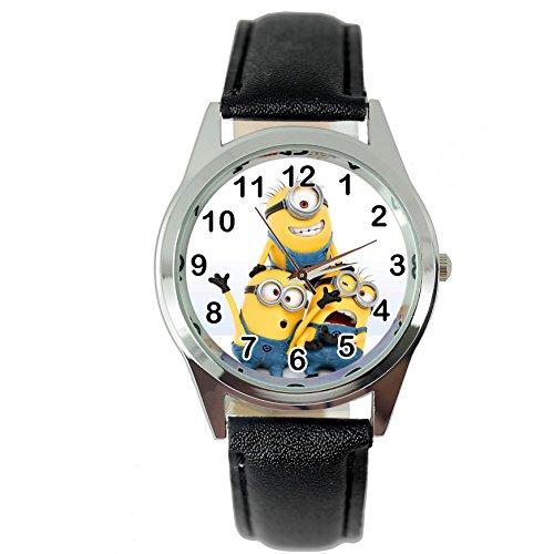 TAPORT® MINIONS Quartz Armbanduhr SCHWARZ Lederband +GRATIS ERSATZBATTERIE+GRATIS GESCHENKSBEUTEL