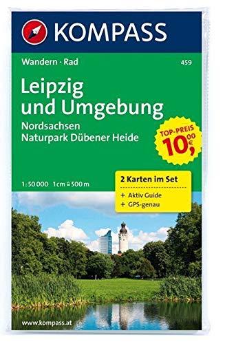 Leipzig und Umgebung - Nordsachsen - Naturpark Dübener Heide: Wanderkarten-Set mit Aktiv Guide in der Schutzhülle. GPS-genau. 1:50000: Wanderkarten-Set. GPS-genau (KOMPASS-Wanderkarten, Band 459)