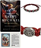 20th Street Products Saint Michael- Red- Slipknot Adjustable Bracelet Plus The Life and Prayers of Saint Michael The Archangel Book and Saint Michael Laminated Prayer Card