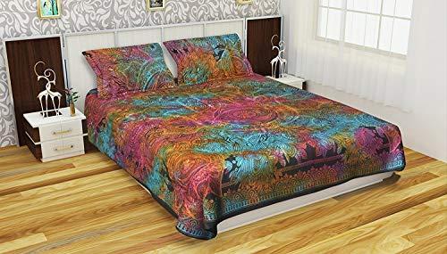 Bettwäsche-Set für Doppelbett, französische Qualität, Glücksbringer, Mehrfarbig, Hamsa-Hand, Continental-Steppbezug mit 2 Kissenbezügen, 3-teiliges Bettwäsche-Set für Doppelbetten, 100% Baumwolle