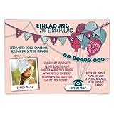 Einschulung Einladungskarten (20 Stück) erster 1. Schultag Einschulungskarten - Fahnen Girlande in Rosa