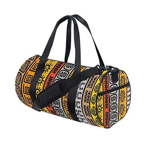 PONIKUCY Bolsa de Viaje,Impresión Tribal Colorida de Las fronteras africanas,Bolsa de Deporte con Compartimento para Sports Gym Bag