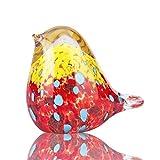 YU FENG Figura de pájaro de cristal colorida de la escultura del adorno coleccionable hecho a mano soplado de cristal pájaro animal estatuilla pisapap