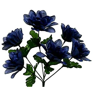 6 Blue 3″ Dahlia Silk Flowers Wedding Artificial Fake Faux Decor Bouquet Crafts, for Wedding Supplies