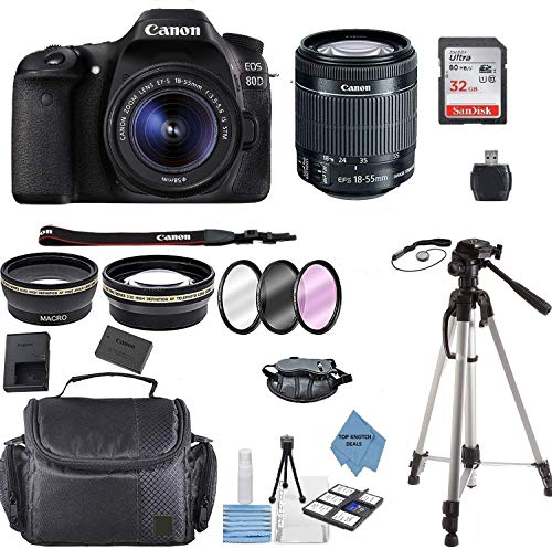 Canon EOS 80D DSLR Camera w/EF-S 18-55mm F/3.5-5.6 III Zoom Lens+ 32GB Memory Card+ Full Tripod+ TopKnotch Deals Cloth (International Model) Bundle