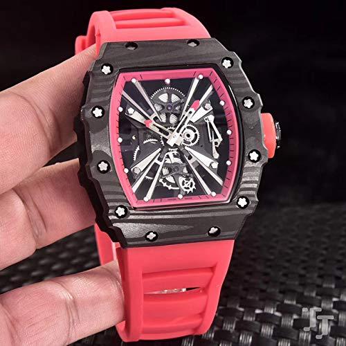 GFDSA Automatische horloges Luxe merk Rode rubberen herenhorloge Saffierglas Automatisch mechanisch Koolstofvezel Zwart Roestvrij staal Waterdicht