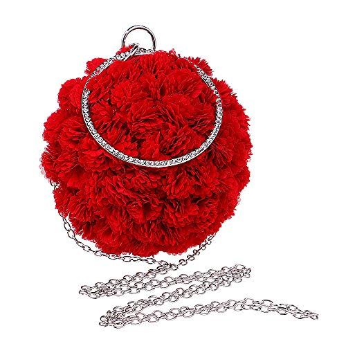 LCHENGJIN Damen Simulation Blume Runde Kugel Diamant Kette Embrayage Abendtasche Umhängetasche Rot